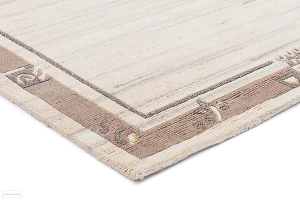 Modern Hand Knotted Natural Wool Rug Cream Brown