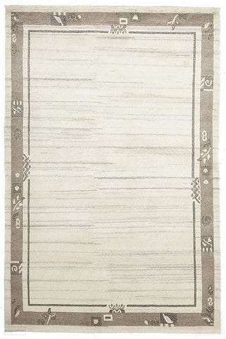 Modern Hand Knotted Natural Wool Rug Cream Brown - 170X120cm