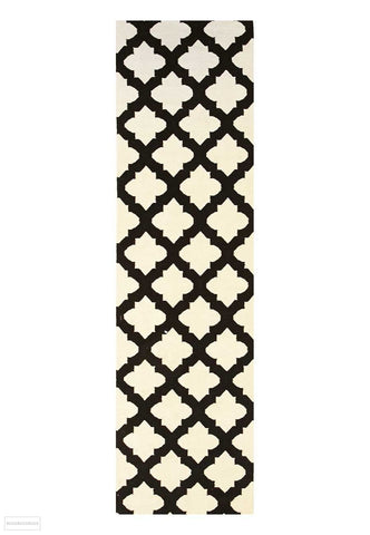 Nomad Pure Wool Flatweave 15 Black Ivory Runner - DISCONTINUED