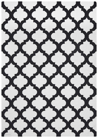 Nomad Pure Wool Flatweave 15 Ivory Black Rug - DISCONTINUED
