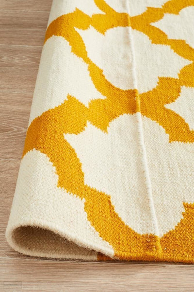 Nomad Pure Wool Flatweave 15 Ivory Gold Rug - DISCONTINUED