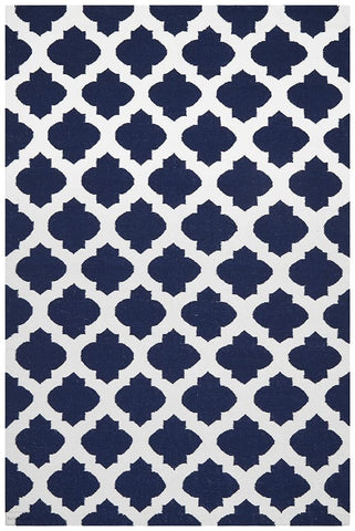 Nomad Pure Wool Flatweave 15 Navy Ivory Rug - DISCONTINUED