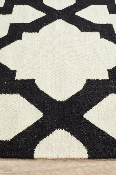 Nomad Pure Wool Flatweave 17 Black Runner - DISCONTINUED