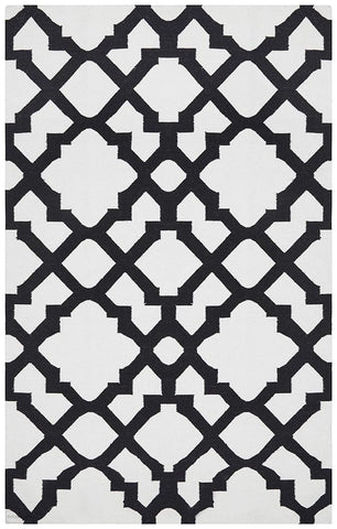 Nomad Pure Wool Flatweave 17 Black Rug - DISCONTINUED
