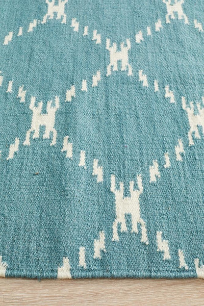 Nomad Pure Wool Flatweave 19 Blue Runner - DISCONTINUED