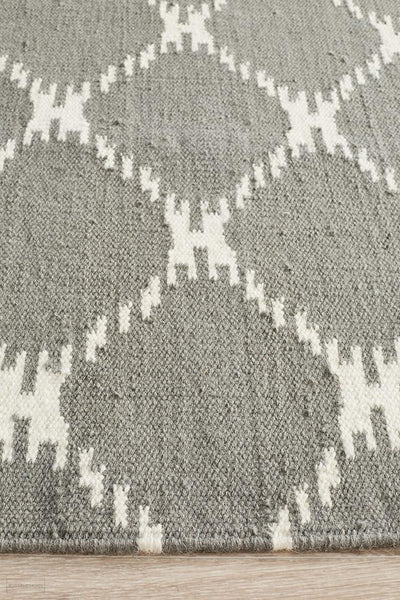 Nomad Pure Wool Flatweave 19 Grey Rug - DISCONTINUED