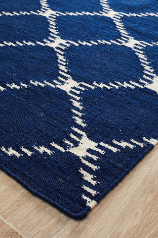 Nomad Pure Wool Flatweave 19 Navy Runner - DISCONTINUED