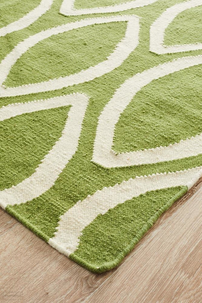 Nomad Pure Wool Flatweave 20 Green Rug - DISCONTINUED