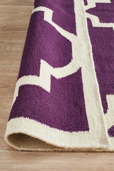 Nomad Pure Wool Flatweave 23 Aubergine Runner - DISCONTINUED