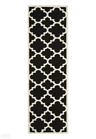 Nomad Pure Wool Flatweave 23 Black Runner - DISCONTINUED