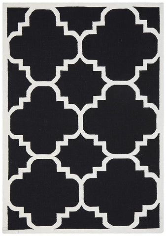 Nomad Pure Wool Flatweave 23 Black Rug - DISCONTINUED