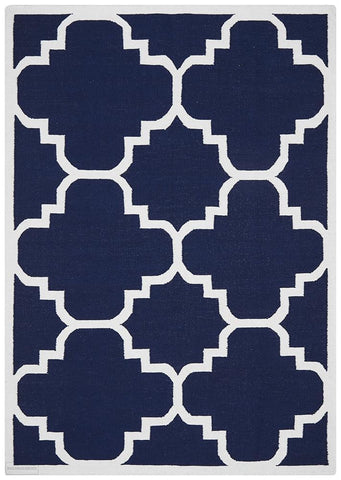 Nomad Pure Wool Flatweave 23 Navy Rug - DISCONTINUED