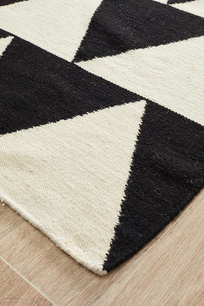 Nomad Pure Wool Flatweave 26 Black Runner - DISCONTINUED