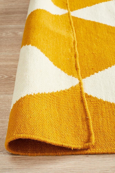 Nomad Pure Wool Flatweave 26 Yellow Rug - DISCONTINUED