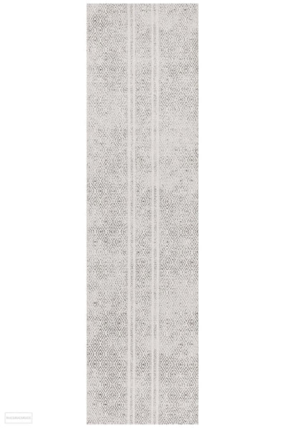 Oasis Salma White And Grey Tribal Runner Rug - 300X80cm