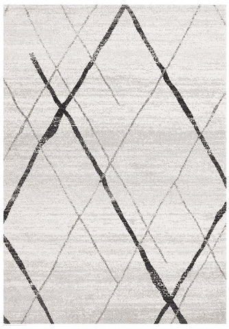 Oasis Noah White Grey Contemporary Rug - 230X160cm