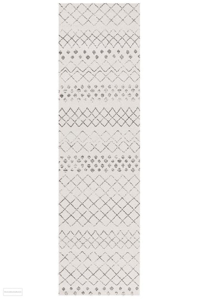 Oasis Selma White Grey Tribal Runner Rug - 300X80cm