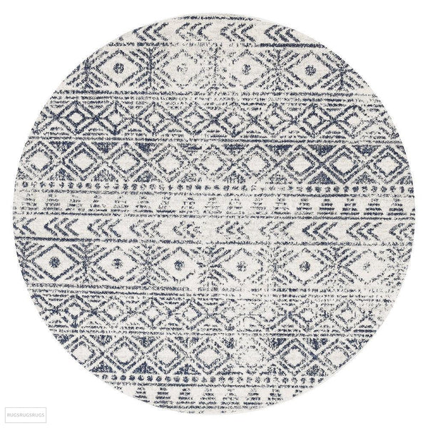 Oasis Ismail White Blue Rustic Round Rug - 150X150cm