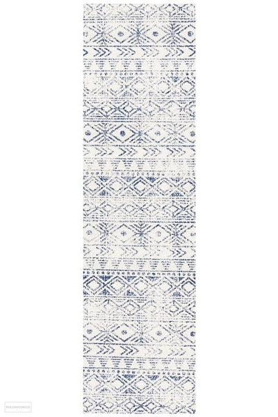 Oasis Ismail White Blue Rustic Runner Rug - 300X80cm