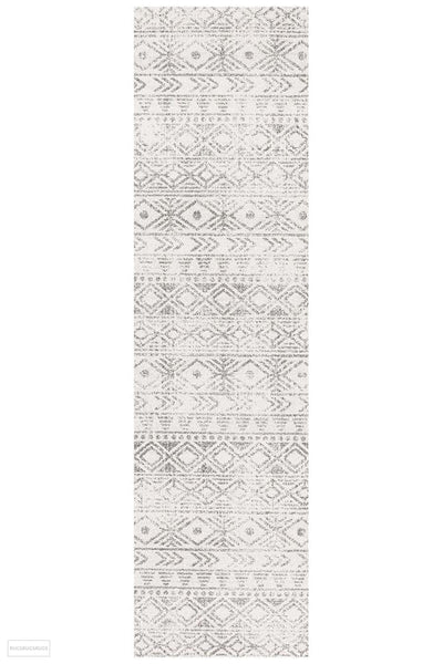 Oasis Ismail White Grey Rustic Runner Rug - 300X80cm
