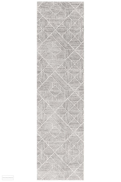 Oasis Kenza Contemporary Silver Runner Rug - 300X80cm