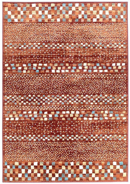 Oxford Mayfair Squares Rust Rug - 230X160cm