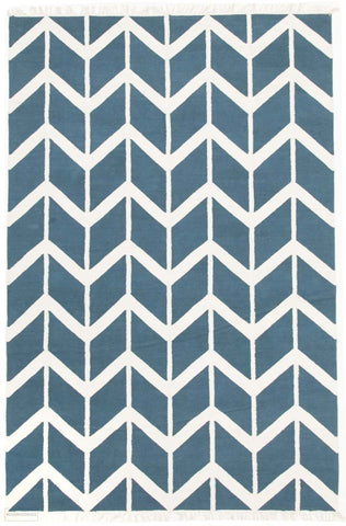 Fantasy Firefly Beautiful Blue Chevron Handmade Wool Rug - Modern