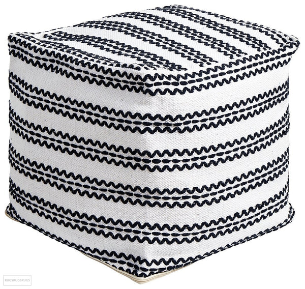 Rug Culture Home 512 White Ottoman - Ottoman
