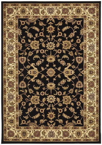 Sydney Collection Classic Rug Black with Ivory Border - 170x120cm