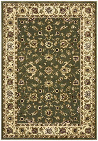 Sydney Collection Classic Rug Green with Ivory Border - 170x120cm