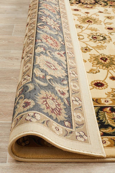 Sydney Collection Classic Rug Ivory with Black Border