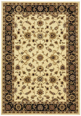 Sydney Collection Classic Rug Ivory with Black Border - 170x120cm