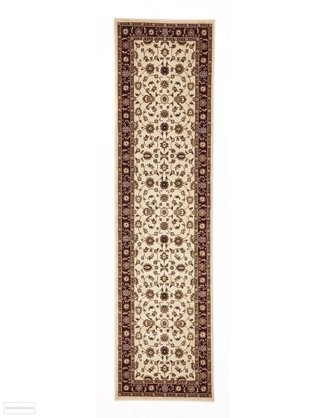 Sydney Collection Classic Rug Ivory with Red Border - 150x80cm
