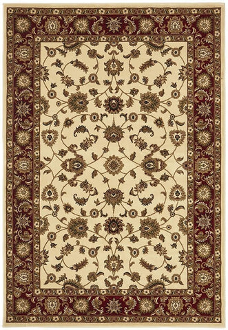Sydney Collection Classic Rug Ivory with Red Border - 170x120cm