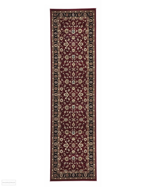 Sydney Collection Classic Rug Red with Black Border - 150x80cm