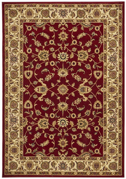 Sydney Collection Classic Rug Red with Ivory Border - 170x120cm