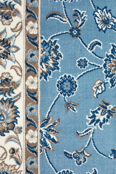 Sydney Collection Classic Rug Sky Blue with Blue Border