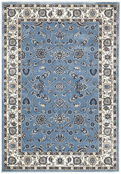 Sydney Collection Classic Rug Sky Blue with Blue Border - 150x80cm