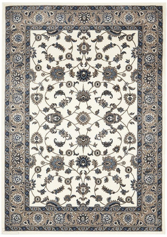 Sydney Collection Classic Rug White with Beige Border - 170x120cm