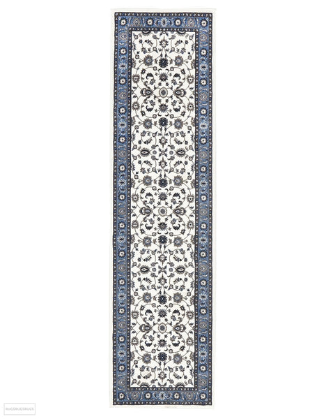 Sydney Collection Classic Rug White with Blue Border - 150x80cm