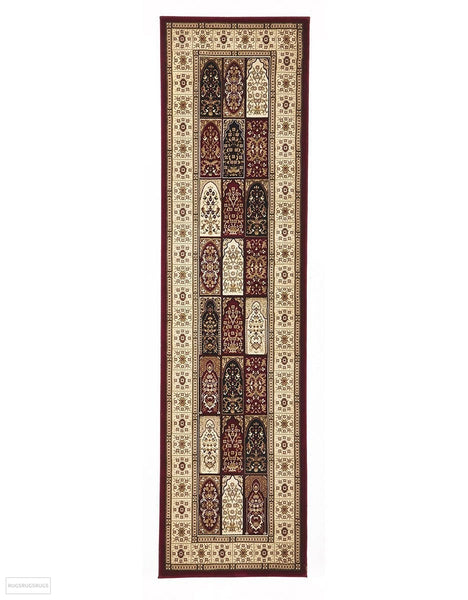 Sydney Collection Traditional Panel Pattern Rug Burgundy - 150x80cm