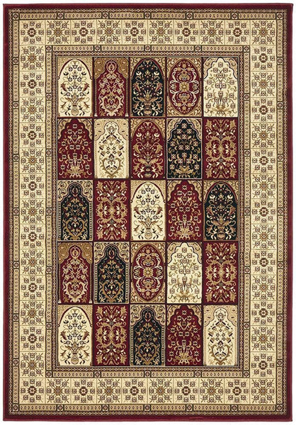 Sydney Collection Traditional Panel Pattern Rug Burgundy - 170x120cm