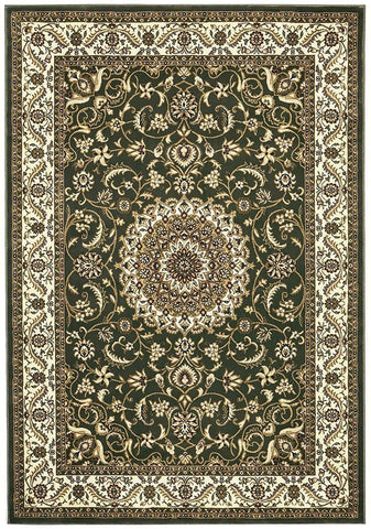 Sydney Collection Medallion Rug Green with Ivory Border - 170x120cm