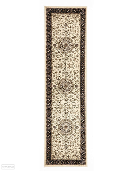 Sydney Collection Medallion Rug Ivory with Black Border - 150x80cm