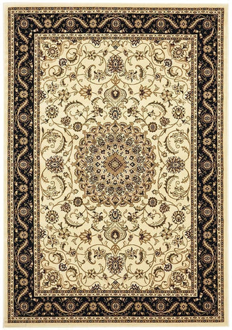 Sydney Collection Medallion Rug Ivory with Black Border - 170x120cm