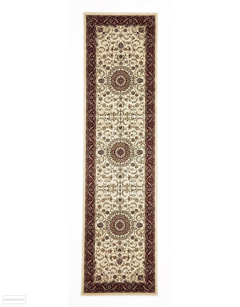 Sydney Collection Medallion Rug Ivory with Red Border - 150x80cm
