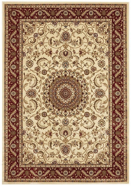 Sydney Collection Medallion Rug Ivory with Red Border - 170x120cm