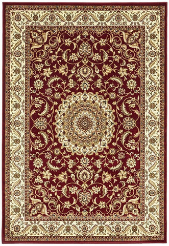 Sydney Collection Medallion Rug Red with Ivory Border - 170x120cm
