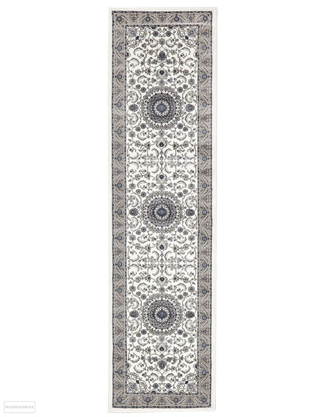 Sydney Collection Medallion Rug White with Beige Border - 150x80cm