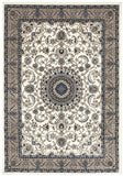 Sydney Collection Medallion Rug White with Beige Border - 170x120cm